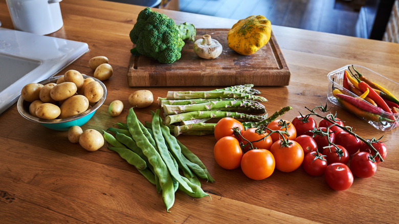 vegetables on counter
