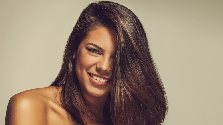 woman with smooth shiny hair