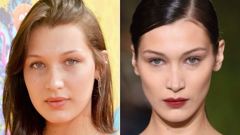 Bella Hadid eyebrows before and after