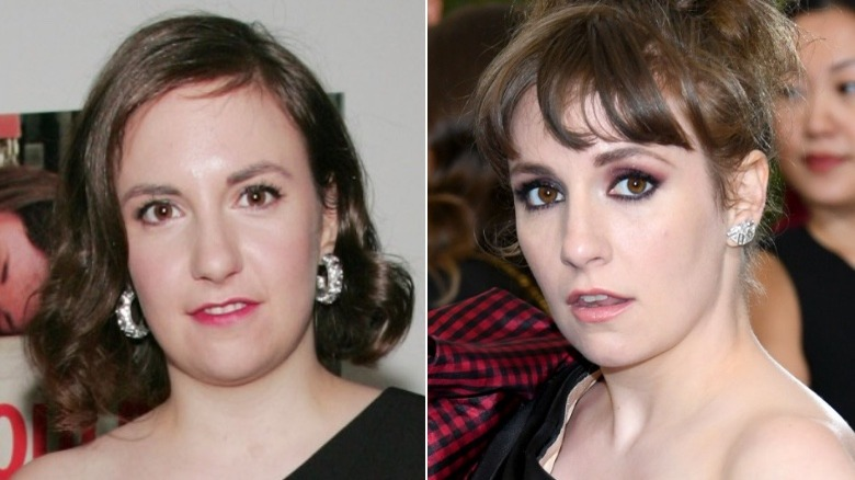 Lena Dunham eyebrows before and after