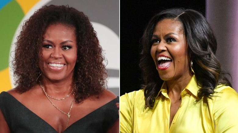 Michelle Obama with natural hair and treated hair