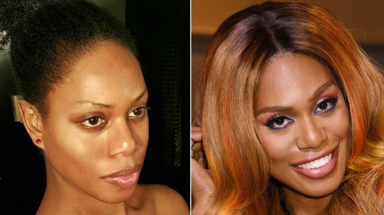 Laverne Cox with her natural hair and treated hair