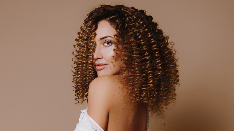 woman with permed hair