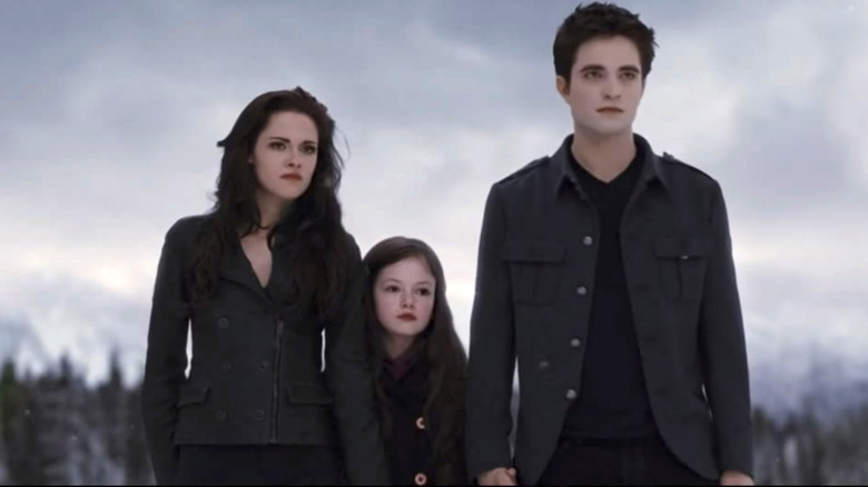 Twilight characters Bella, Edward, and Renesme