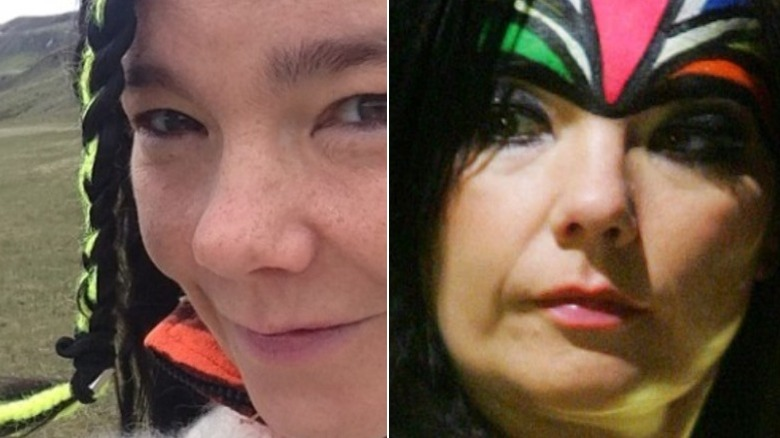 Björk without and with makeup