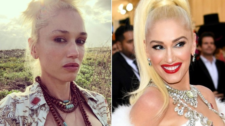 Gwen Stefani, without and with makeup