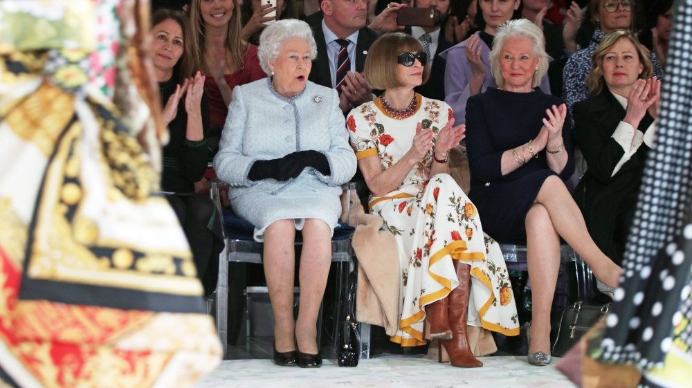 Queen Elizabeth II with Anna Wintour and Angela Kelly