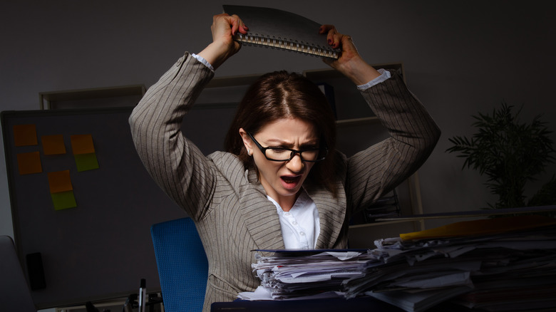 Woman unhappy at work