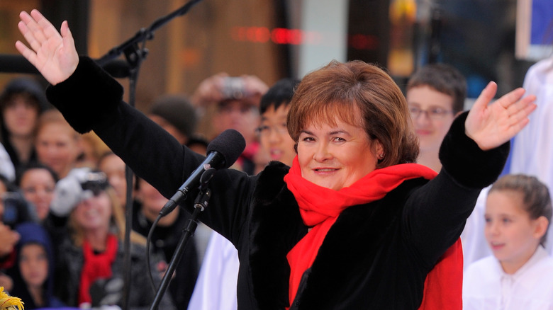 Susan Boyle with raised arms
