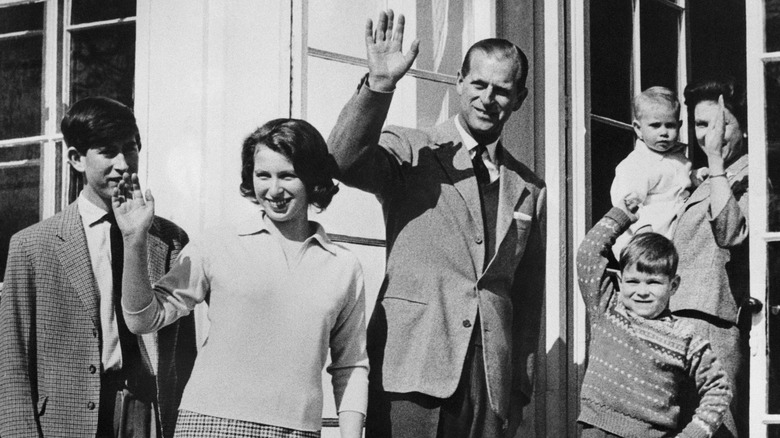 Queen Elizabeth and Prince Philip with their four kids