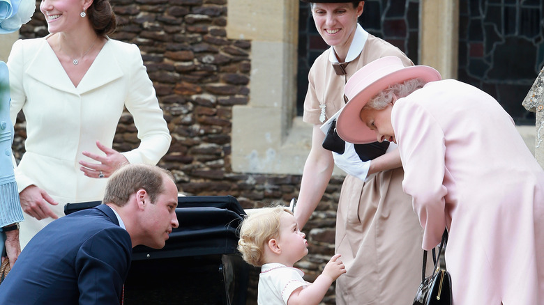 Queen Elizabeth, Prince William, George and his nanny