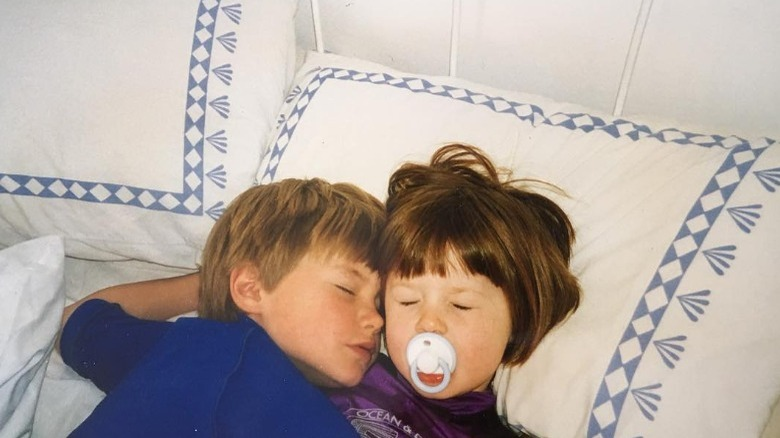 Bonnie Wright, as a child with her brother