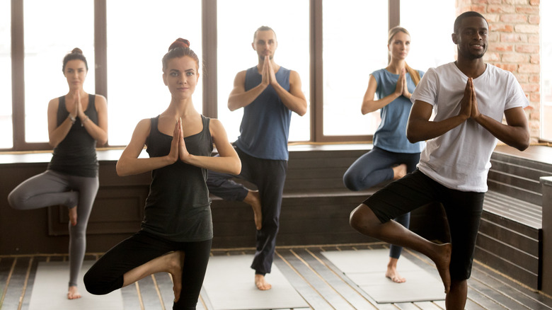 A group of people holding tree pose