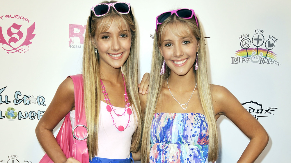 The Rosso twins wearing pink and blue